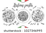 spaghetti and penne pasta with... | Shutterstock .eps vector #1027346995