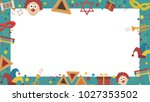 frame with purim holiday flat... | Shutterstock .eps vector #1027353502