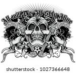 gothic coat of arms with skull... | Shutterstock .eps vector #1027366648