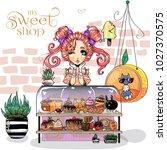 cute little girl at sweet shop  ... | Shutterstock .eps vector #1027370575