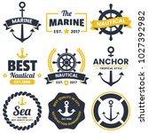 nautical retro vector logo for... | Shutterstock .eps vector #1027392982