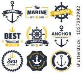 nautical retro vector logo for... | Shutterstock .eps vector #1027392982