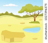 terrain with rare vegetation... | Shutterstock .eps vector #1027396375