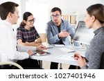 businessmen working in an... | Shutterstock . vector #1027401946