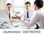 businessmen working with... | Shutterstock . vector #1027401952