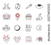 easter day icons. holiday and... | Shutterstock .eps vector #1027403332