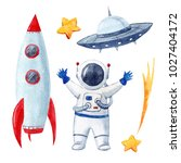 watercolor cute set of space...   Shutterstock . vector #1027404172