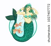 mermaid girl with crown.the sea ... | Shutterstock .eps vector #1027407772