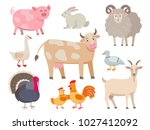 farm animals vector flat... | Shutterstock .eps vector #1027412092
