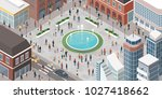 people in the city walking ... | Shutterstock .eps vector #1027418662