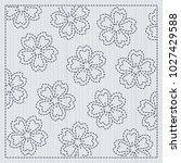 japanese needlework. sakura... | Shutterstock .eps vector #1027429588
