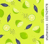limes  seamless pattern. slices ... | Shutterstock .eps vector #1027429978