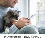 Stock photo handsome man with mobile phone and cute kitten 1027434472