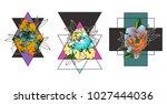 vector color geometric peonies... | Shutterstock .eps vector #1027444036
