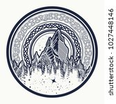 mountains in the circle tattoo  ... | Shutterstock .eps vector #1027448146