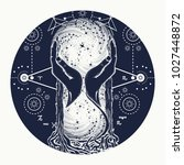 space hourglasses tattoo ... | Shutterstock .eps vector #1027448872