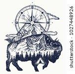 bison double exposure ...   Shutterstock .eps vector #1027448926