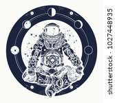 astronaut and universe t shirt... | Shutterstock .eps vector #1027448935
