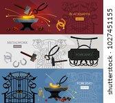 blacksmith hammer and anvil ... | Shutterstock .eps vector #1027451155