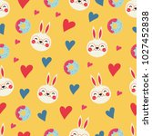 colorful pattern with bunnies... | Shutterstock .eps vector #1027452838