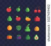 fruits pixel art icons set... | Shutterstock .eps vector #1027459402