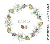 easter round wreath with  ... | Shutterstock .eps vector #1027464235