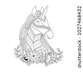 unicorn in floral zentangle for ... | Shutterstock .eps vector #1027468432