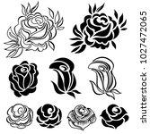 set of vector floral design... | Shutterstock .eps vector #1027472065