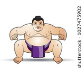 huge sumo wrestler in action... | Shutterstock .eps vector #1027475902