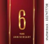 6 years gold anniversary... | Shutterstock .eps vector #1027477738