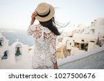 happy woman in white dress and... | Shutterstock . vector #1027500676