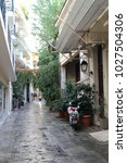 narrow lane in athens district...   Shutterstock . vector #1027504306
