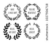 Set of hand drawn vector branches with quotes