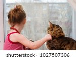 Stock photo little girl and cat sit and look out the window 1027507306