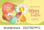 easter sale poster with colored ... | Shutterstock .eps vector #1027507972