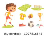 boy soccer football player ... | Shutterstock .eps vector #1027516546