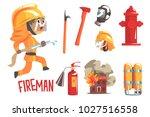 boy fireman  kids future dream... | Shutterstock .eps vector #1027516558