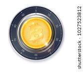 safe lock with crypto currency...   Shutterstock .eps vector #1027523812