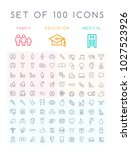 set of 100 universal minimal... | Shutterstock .eps vector #1027523926