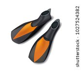 realistic black flippers  front ...   Shutterstock .eps vector #1027524382