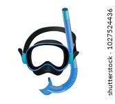 blue diving mask  diving tube ...   Shutterstock .eps vector #1027524436