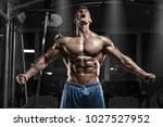 sexy muscular man in gym ... | Shutterstock . vector #1027527952
