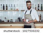 handsome male barista is... | Shutterstock . vector #1027533232