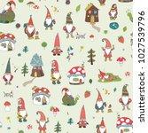 fairytale fantastic gnome dwarf ... | Shutterstock .eps vector #1027539796