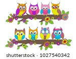 funny owls on branch   vector... | Shutterstock .eps vector #1027540342