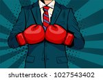man in boxing gloves vector... | Shutterstock .eps vector #1027543402