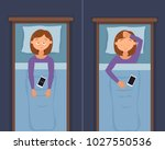 sleepless woman face cartoon... | Shutterstock .eps vector #1027550536