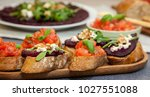 bruschetta and sandwich with... | Shutterstock . vector #1027551088