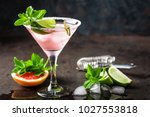margarita cocktail with salted... | Shutterstock . vector #1027553818