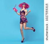 full length portrait fashion... | Shutterstock . vector #1027555315